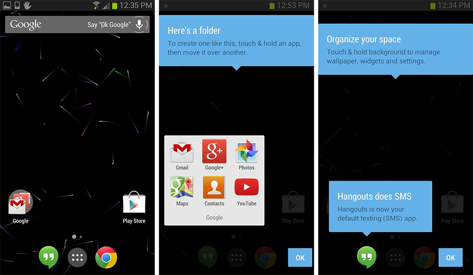 Welcome Guide, Home Screen and Folders in Google Launcher